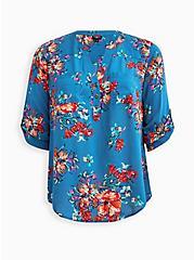 Plus Size Harper Pullover Blouse - Challis Floral Blue , FLORAL - BLUE, hi-res