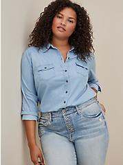 Button Down Shirt - Light Denim , DENIM, hi-res