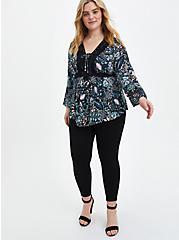 Lace-Up Babydoll Top - Crinkle Gauze Floral Black, FLORAL - BLACK, alternate