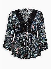 Lace-Up Babydoll Top - Crinkle Gauze Floral Black, FLORAL - BLACK, hi-res