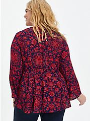 Plus Size Lace-Up Babydoll Top - Crinkle Gauze Floral Red & Navy, OTHER PRINTS, alternate