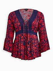 Plus Size Lace-Up Babydoll Top - Crinkle Gauze Floral Red & Navy, OTHER PRINTS, hi-res
