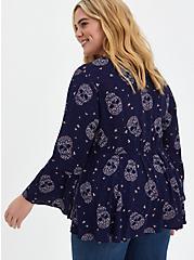 Lace-Up Babydoll Top - Crinkle Gauze Floral Skulls Navy, FLORAL - BLUE, alternate