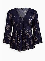 Lace-Up Babydoll Top - Crinkle Gauze Floral Skulls Navy, FLORAL - BLUE, hi-res