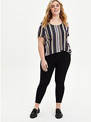 Abbey - Textured Stretch Rayon Multi Stripe Blouse, STRIPE-BLACK, alternate