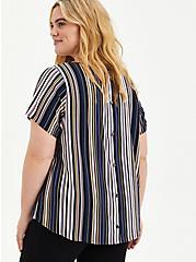 Abbey - Textured Stretch Rayon Multi Stripe Blouse, STRIPE-BLACK, hi-res