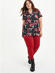 Plus Size Black Floral Georgette Hi-Low Tunic, FLORAL - BLACK, alternate