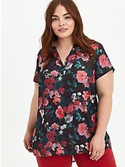Plus Size Black Floral Georgette Hi-Low Tunic, FLORAL - BLACK, hi-res