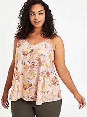 Sophie - Chiffon Floral Mauve Cami, FLORAL - TAN, hi-res