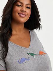 V-Neck Sleep Tee - Dinosaur Heather Grey , GREY, alternate