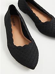 Pointed Toe Flat - Black Stretch Knit (WW), BLACK, alternate