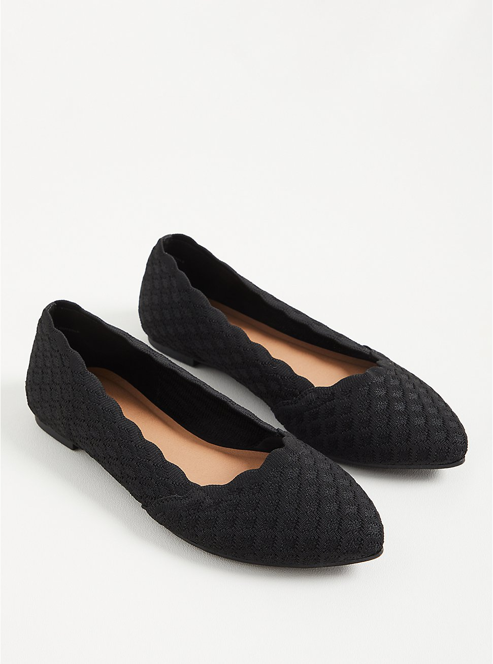 Pointed Toe Flat - Black Stretch Knit (WW), BLACK, hi-res