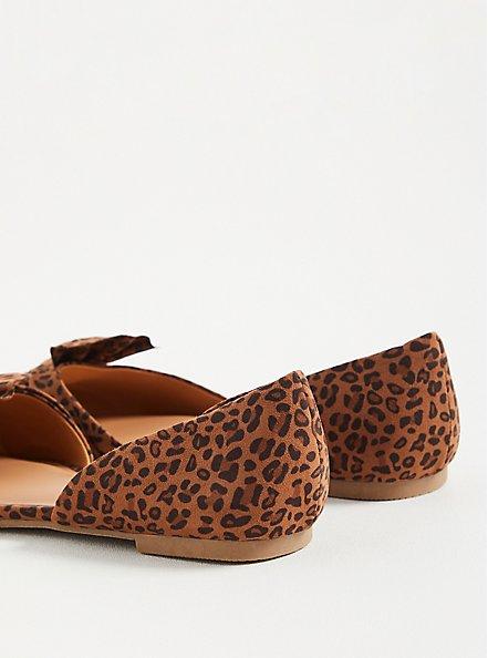 Twist Bow Dorsay Flat - Leopard Faux Suede (WW), LEOPARD, alternate