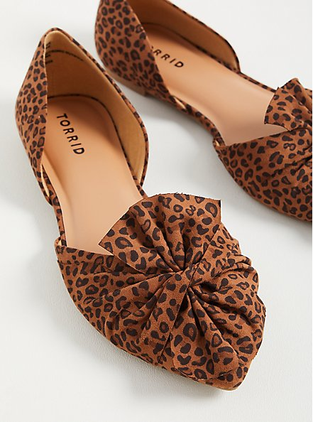 Twist Bow Dorsay Flat - Leopard Faux Suede (WW), LEOPARD, hi-res