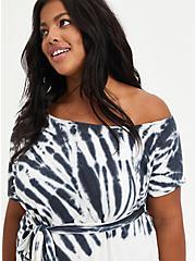 Black Tie Dye Off-Shoulder French Terry T-Shirt Dress, TIE DYE-BLACK, alternate