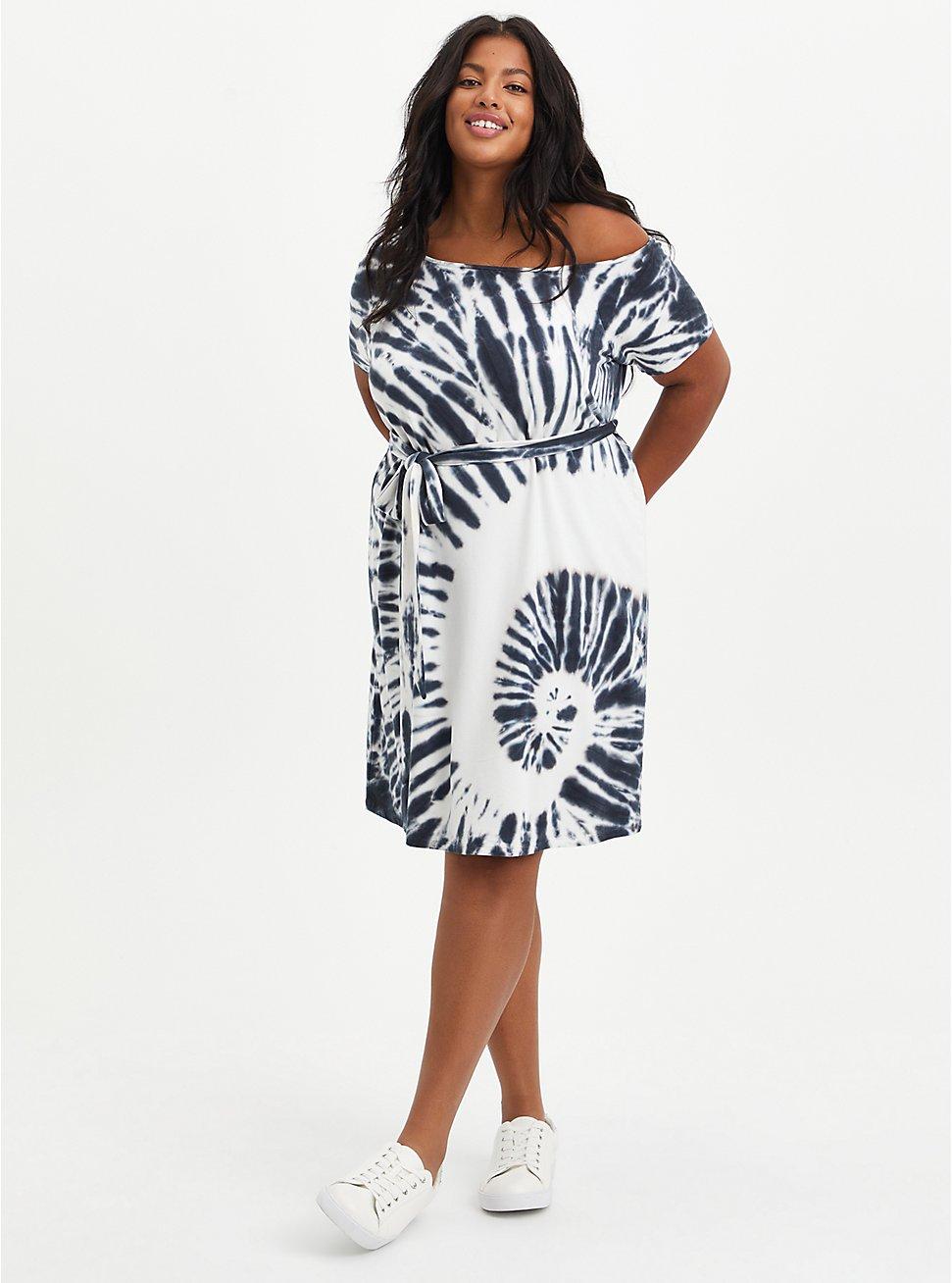 Black Tie Dye Off-Shoulder French Terry T-Shirt Dress, TIE DYE-BLACK, hi-res
