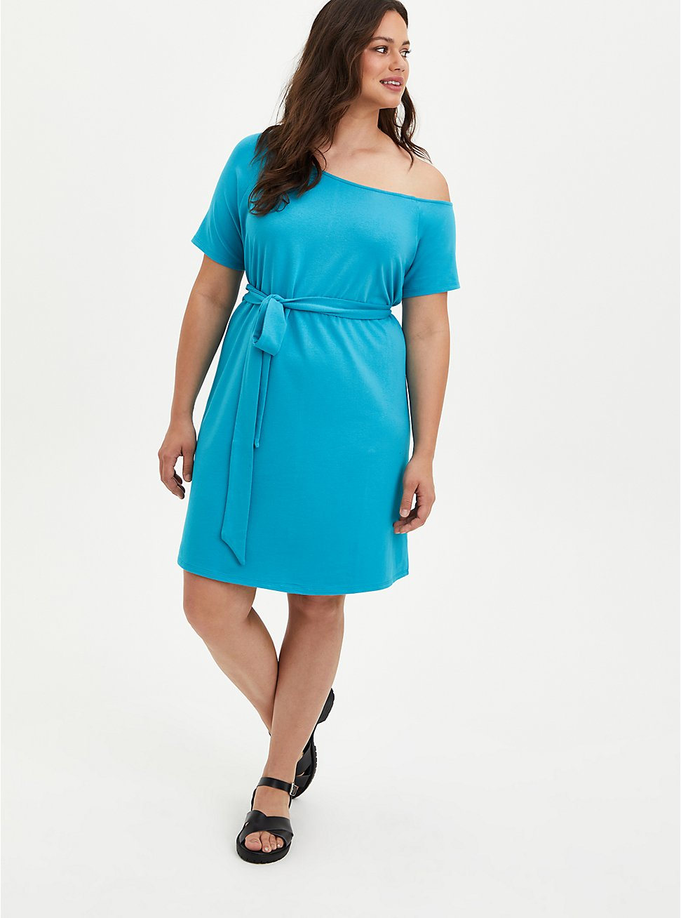 Plus Size Off-Shoulder T-Shirt Dress -  French Terry Teal , TEAL, hi-res