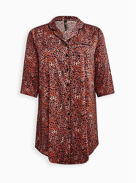 Sleep Gown - Stretch Satin Leopard, MULTI, hi-res