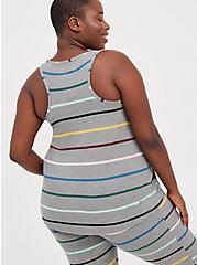 Plus Size Sleep Tank - Super Soft Rib Stripe Grey, MULTI STRIPE, alternate