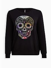 Sleep Sweatshirt - Micro Modal Skull Black, DEEP BLACK, hi-res