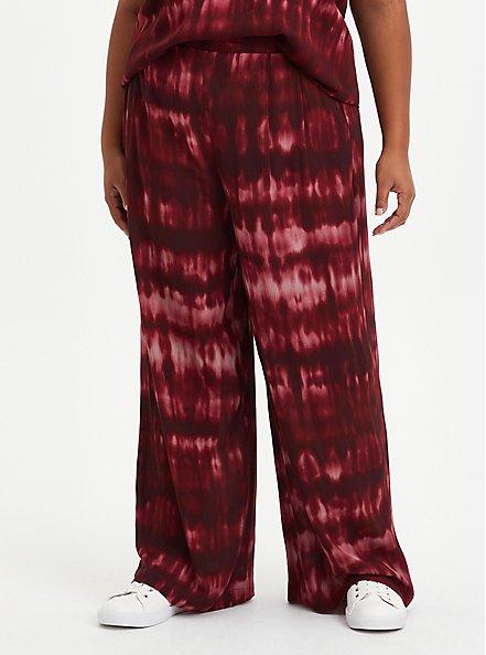 Wide Leg Pant - Crinkle Gauze Tie Dye Wine , OTHER PRINTS, hi-res