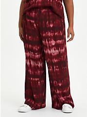 Plus Size Wide Leg Pant - Crinkle Gauze Tie Dye Wine , OTHER PRINTS, hi-res