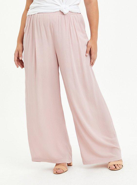 Wide Leg Pant - Gauze Pink, PALE MAUVE, hi-res