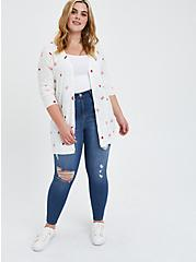 Button Front Cardigan Sweater - Mystic Icons White, MULTI, alternate