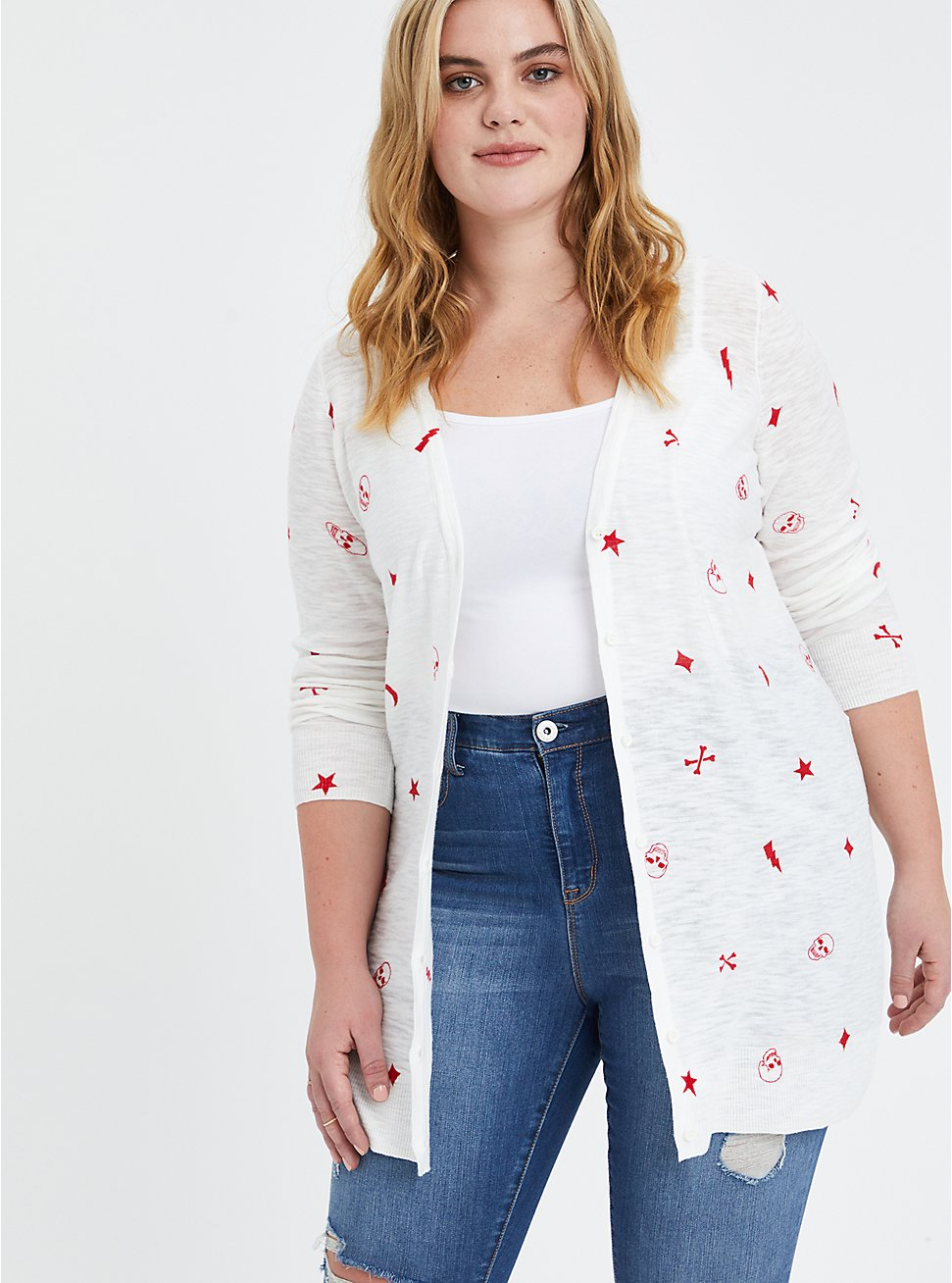 Button Front Cardigan Sweater - Mystic Icons White, MULTI, hi-res