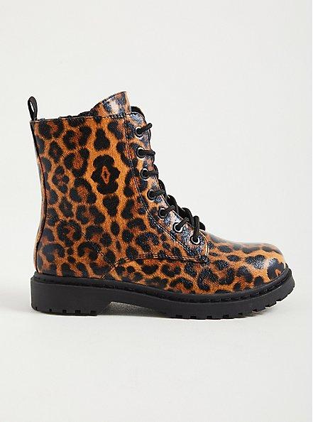 Stevie - Leopard Chunky Combat Boot (WW), LEOPARD, alternate