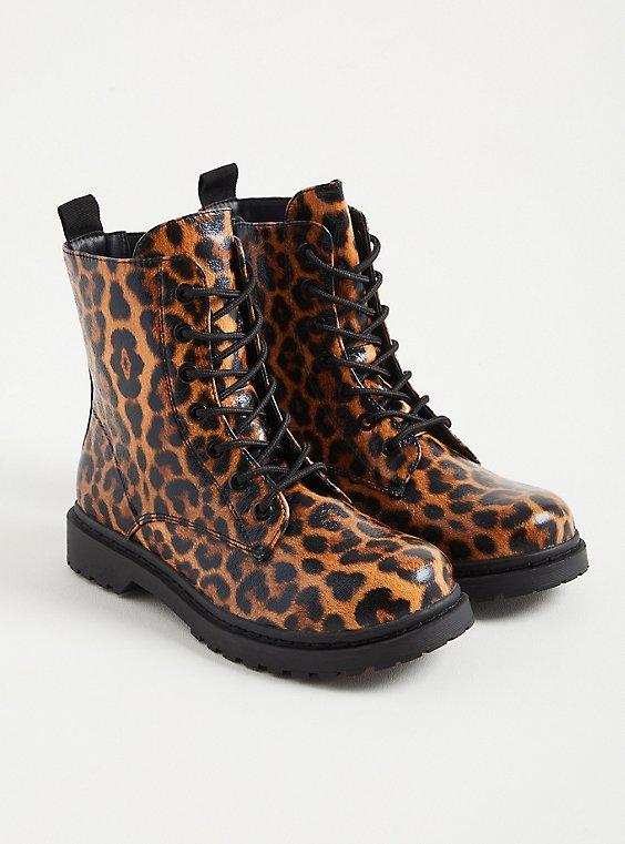 Stevie - Leopard Chunky Combat Boot (WW), LEOPARD, hi-res