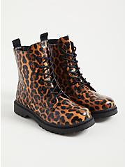 Plus Size Stevie - Leopard Chunky Combat Boot (WW), LEOPARD, hi-res