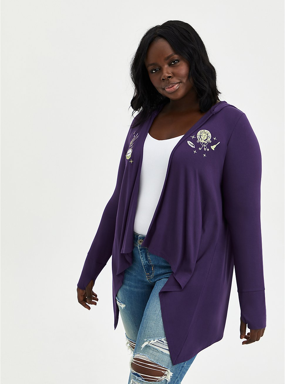 Disney Haunted Mansion Drape Cardigan - Super Soft Leota Purple, PURPLE, hi-res