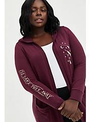Plus Size Plush Hooded Cardigan - Super Soft Disney Hocus Pocus Icon, BURGUNDY, hi-res
