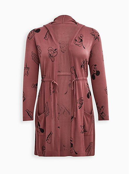 Plus Size Hooded Cardigan - Disney Mickey & Friends Cinch Waist Rose Brown, ROSE BROWN, hi-res