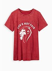 Classic Fit Crew Tee - Disney Lion King Scar Not Fair Mineral Wash, RUMBA RED, hi-res