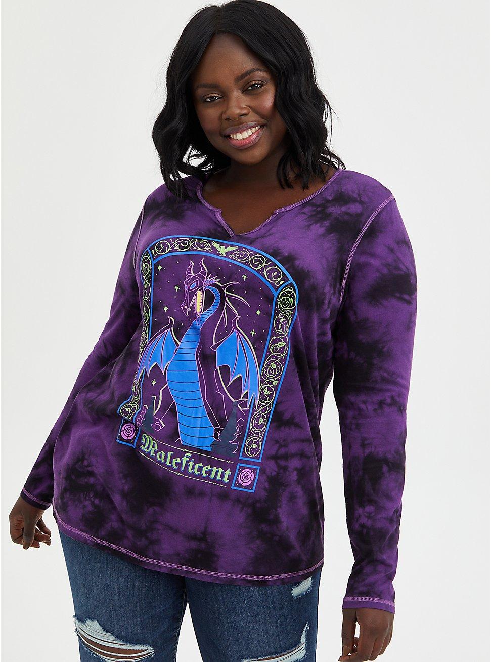 Notch Neck Top - Disney Maleficent Tie Dye, TIE DYE, hi-res