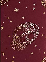 Crop Premium Legging - Stars & Skulls Print, BURGUNDY, alternate