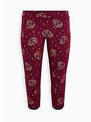 Crop Premium Legging - Stars & Skulls Print, BURGUNDY, hi-res