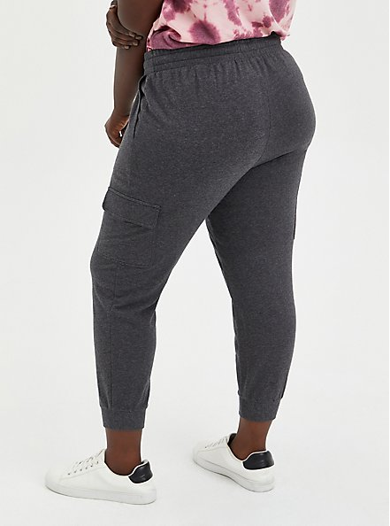 Relaxed Fit Cargo Crop Jogger - Everyday Fleece Charcoal Heather, CHARCOAL HEATHER, alternate