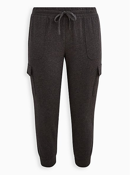 Relaxed Fit Cargo Crop Jogger - Everyday Fleece Charcoal Heather, CHARCOAL HEATHER, hi-res