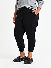 Plus Size Relaxed Fit Cargo Crop Jogger - Everyday Fleece Black, DEEP BLACK, hi-res