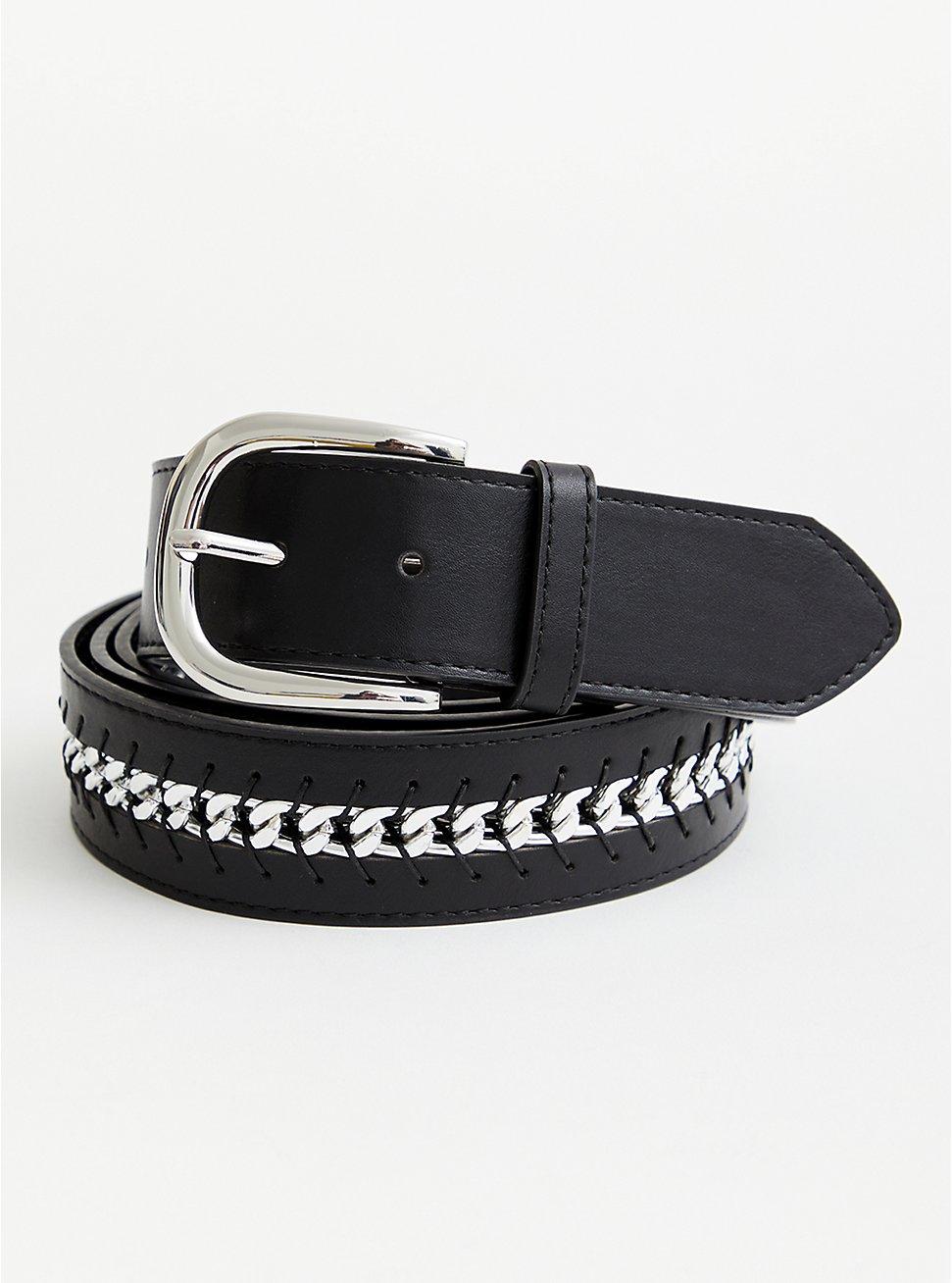 Black Link Faux Leather Belt, BLACK, hi-res