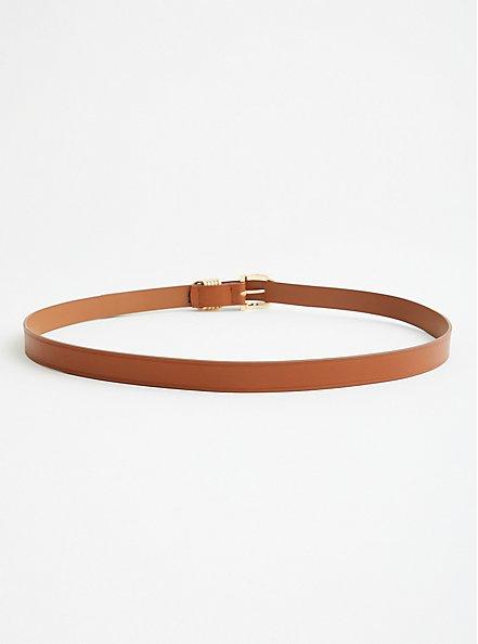 Cognac Faux Leather Multi Ring Jean Belt, BROWN, alternate