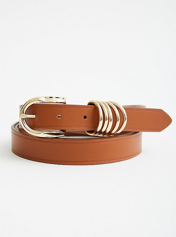 Cognac Faux Leather Multi Ring Jean Belt, BROWN, hi-res
