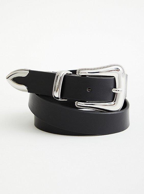 Western Buckle Jean Belt - Faux Leather Black, BLACK, hi-res