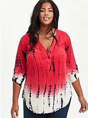 Harper - Challis Tie Dye Red Pullover Blouse, TIE DYE, hi-res