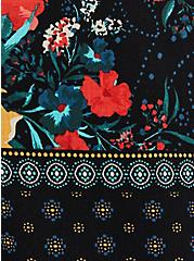 Black Floral Textured Stretch Rayon Goddess Tank, FLORAL - BLACK, alternate