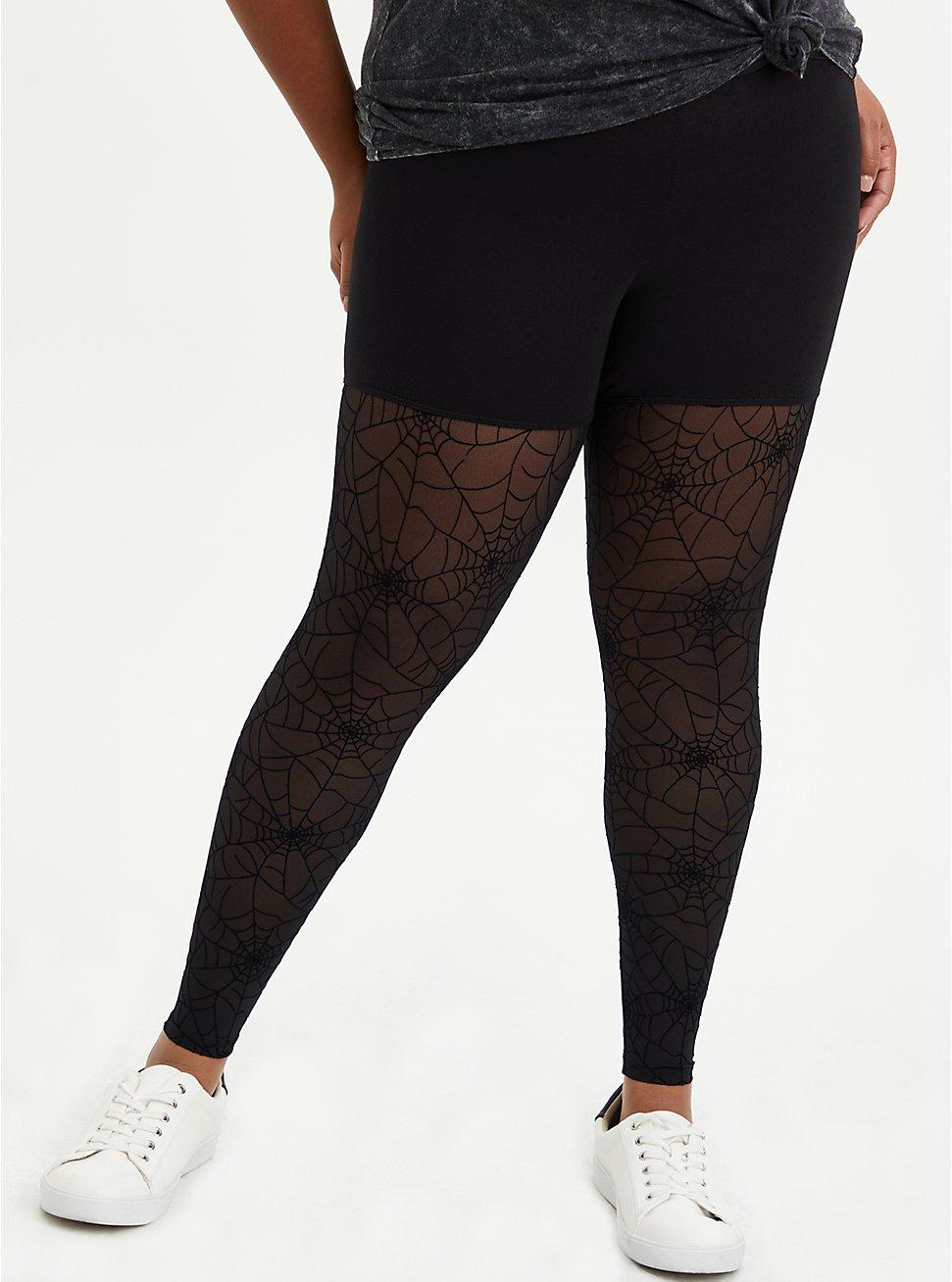 Premium Legging - Flocked Mesh Web Black, BLACK, hi-res