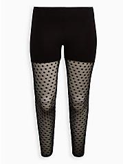Premium Legging - Polka Dot Flocked Mesh Black, BLACK, hi-res
